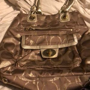 Gold and bronze coach bag